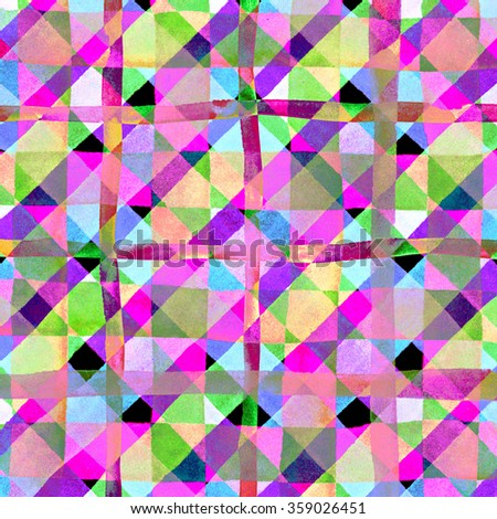 Watercolor hand painted brush strokes, pink, purple, green and blue striped background, Abstract bright colorful watercolor background, Checkered pattern. - stock photo