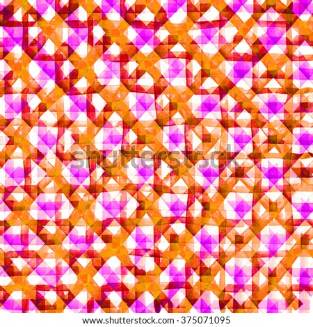 Watercolor hand painted brush strokes, pink yellow striped background, Abstract bright colorful watercolor background, Checkered pattern. - stock photo