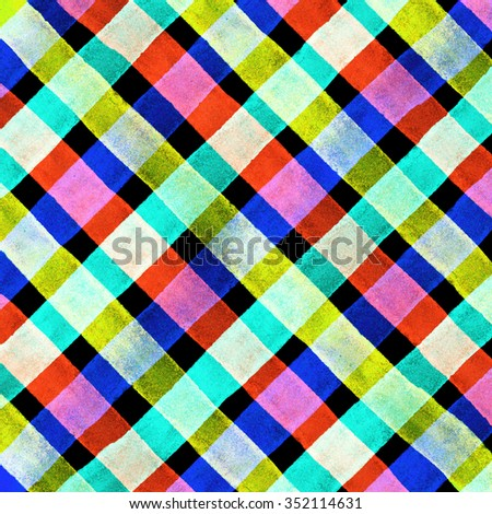 Watercolor hand painted brush strokes, purple, orange and red striped background, Abstract bright colorful watercolor background, Checkered pattern - stock photo