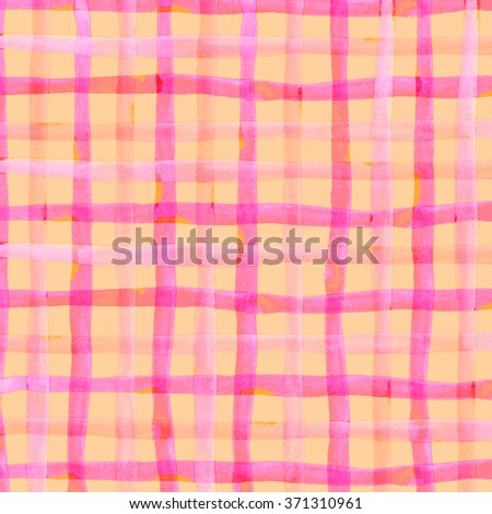 Watercolor hand painted brush strokes, red, pink and orange striped background, Abstract bright colorful watercolor background, Checkered pattern. - stock photo