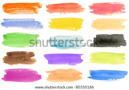 Watercolor hand painted brush strokes set. Isolated on white background. Made myself. - stock photo