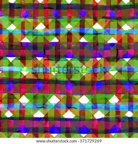 Watercolor hand painted brush strokes, striped background, Abstract bright colorful watercolor background, Checkered pattern. - stock photo