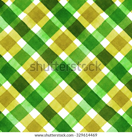 Watercolor hand painted brush strokes, striped background, Abstract bright green and yellow colorful watercolor background, Checkered pattern - stock photo