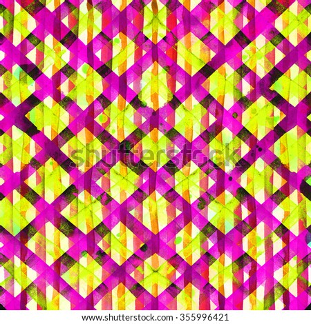 Watercolor hand painted brush strokes, yellow and pink striped background, Abstract bright colorful watercolor background, Checkered pattern.