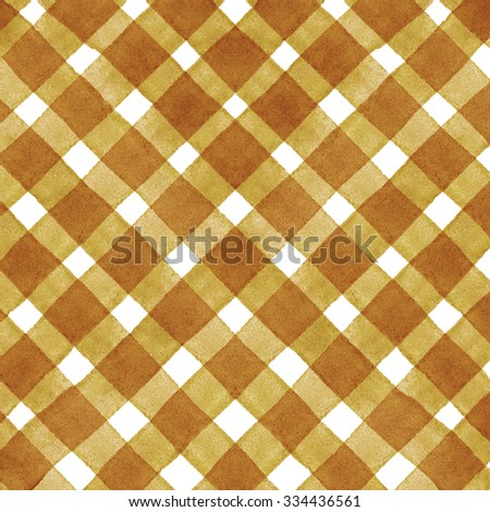 Watercolor hand painted brush strokes, yellow and white striped background, Abstract bright colorful watercolor background, yellow Checkered pattern - stock photo