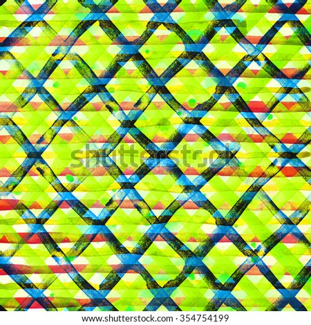 Watercolor hand painted brush strokes, yellow, red, green and blue striped background, Abstract bright colorful watercolor background, Checkered pattern. - stock photo