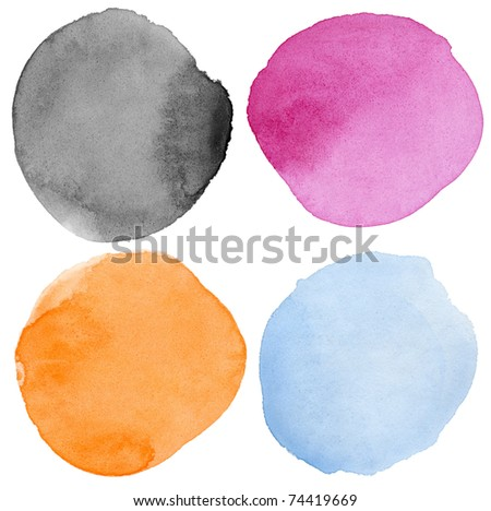 Watercolor hand painted circle shape design elements. Made myself. - stock photo