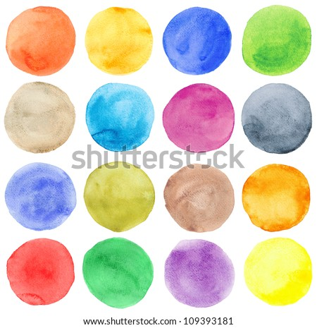 Watercolor hand painted circles set - stock photo