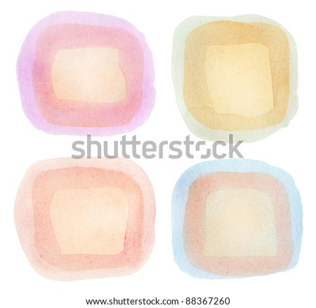 Watercolor hand painted design elements. - stock photo
