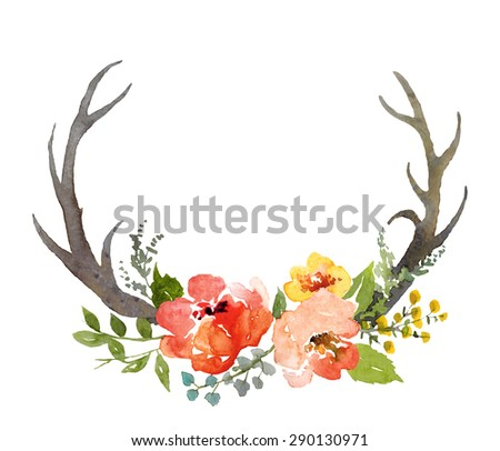 Watercolor hand painted floral composition with deer horns, isolated in white. - stock photo