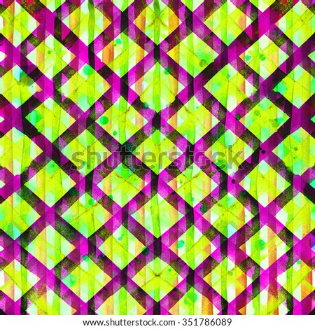 Watercolor hand painted green, blue and yellow brush strokes, striped background, Abstract bright colorful watercolor background, Checkered pattern