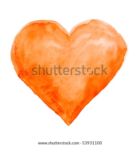 Watercolor hand painted heart - stock photo