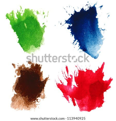 Watercolor hand painted multicolor brush strokes. Isolated. Made myself. - stock photo