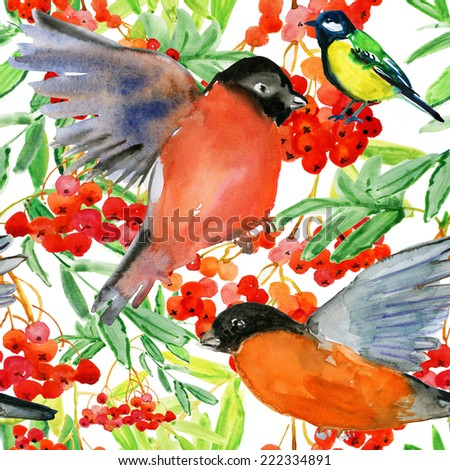Watercolor hand painted seamless pattern with birds - stock photo