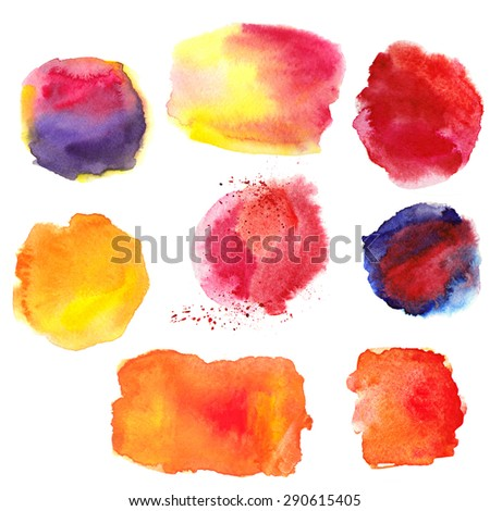 Watercolor Hand Painting Red Stains,spot,splash Texture Design Elements.  Bright Design Template