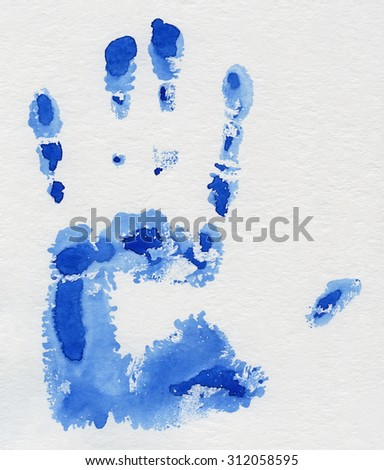 Watercolor. Hand print blue watercolor paint on white paper. - stock photo