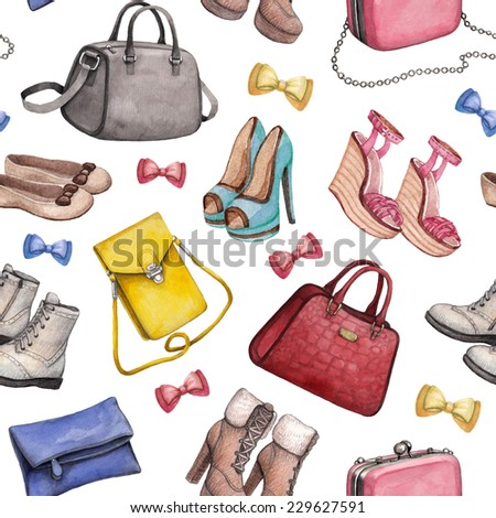 Watercolor handbag and shoes illustrations. Seamless pattern  - stock photo