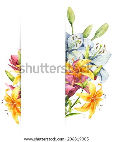 Watercolor handmade colorful flowers frame set - stock photo