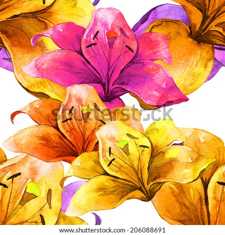 Watercolor handmade colorful lilly flowers seamless pattern set  - stock photo
