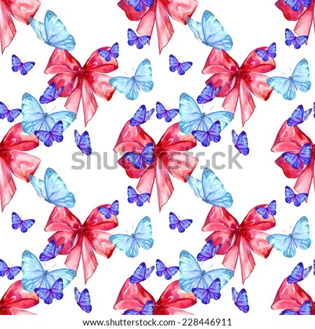 Watercolor handmade colorful natural seamless pattern set with ribbons - stock photo