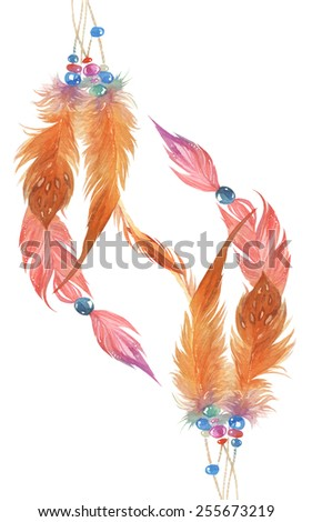 Watercolor handmade decorative feathers card set