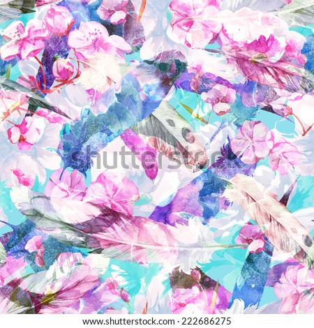 Watercolor handmade floral seamless pattern set with flowers and feathers - stock photo