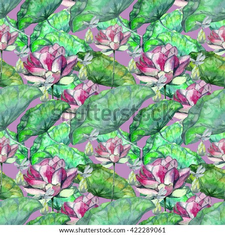 Watercolor handmade pattern pink lotus with bud, green leaves and dragonfly on light violet background. Background for design textile, wallpaper, wrapping paper - stock photo