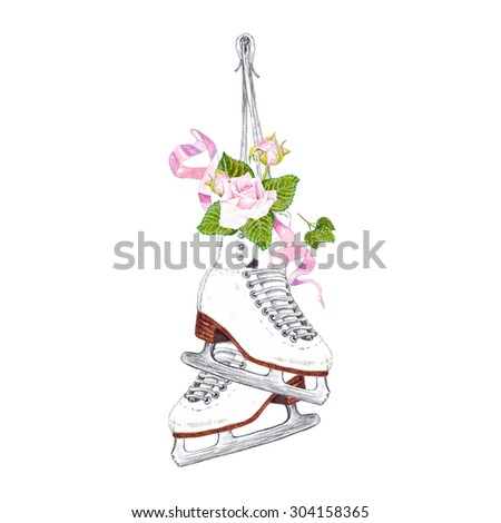 Watercolor Hanging Pair of Ice Skates with Pink Roses & Ribbons, isolated on white background. Retro style. Elegant Element for your design. Hand drawn illustration.  - stock photo