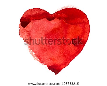 Watercolor Heart - stock photo