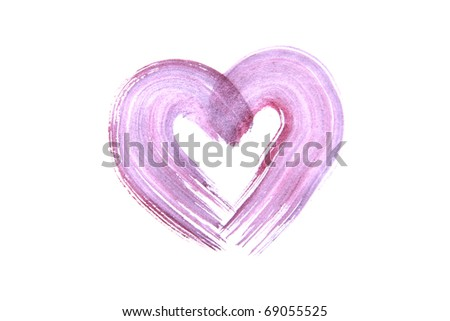 Watercolor heart isolated over white - stock photo