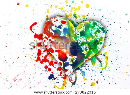 Watercolor heart symbol spray paint on paper - stock photo