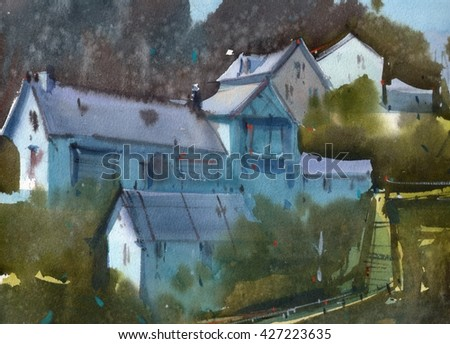 watercolor houses on a hill illustration