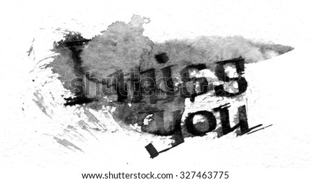 Watercolor I miss you typography poster in black watercolor on white background. Inspirational quote. Texture for design and formalization. I Miss You. - stock photo