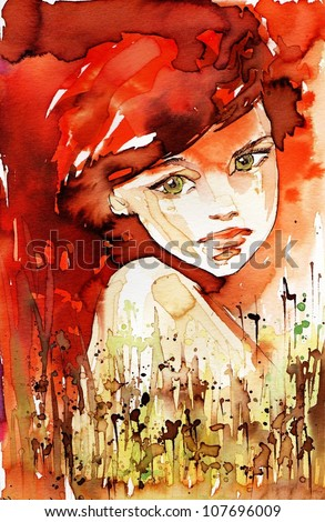 watercolor illustration - stock photo