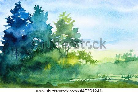 Watercolor illustration. - stock photo