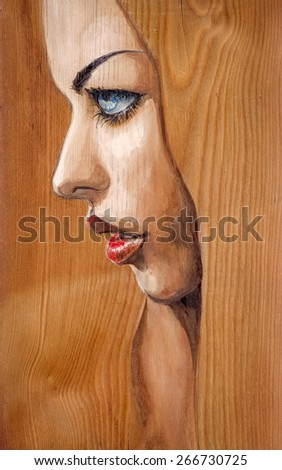 Watercolor illustration-beautiful woman with blue eyes painted on a wood. - stock photo