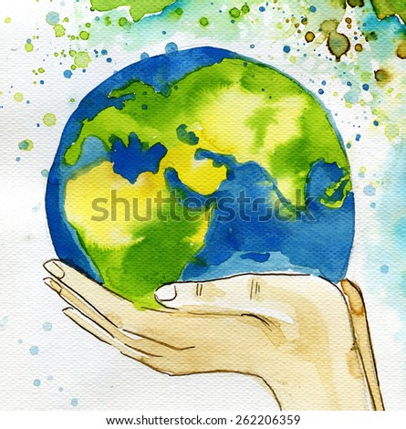 watercolor illustration depicting the earth - stock photo