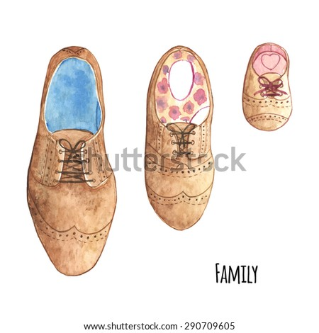 Watercolor illustration family look shoes