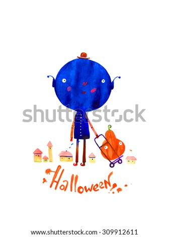 watercolor illustration, halloween monster isolated on white background - stock photo