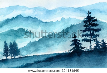 Watercolor illustration. Mountains landscape, trees, sky. - stock photo