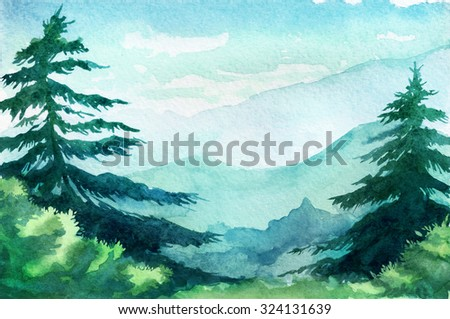 Watercolor illustration. Mountains, trees, sky. - stock photo