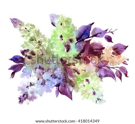 Watercolor illustration of a beautiful blooming branch colorful lilac. - stock photo