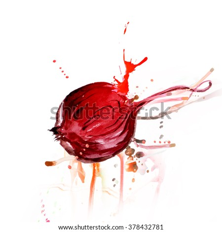 watercolor illustration of a beet