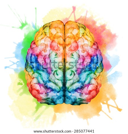 watercolor illustration of a bright, colorful brain, spray paint - stock photo