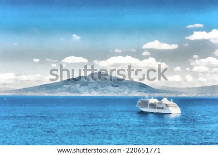 Watercolor illustration of a cruise ship at sea and mount Vesuvius in the background. - stock photo