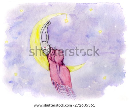 Watercolor illustration of a cute bunny sleeping on crescent - stock photo