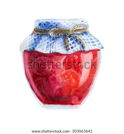 Watercolor illustration of a jar of home made strawberry jam with checkered fabric and decorative rope. Hand drawn isolated food object on white background. Sweet tasty dessert. - stock photo