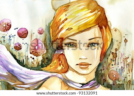 Watercolor illustration of a portrait of a girl in summer. - stock photo