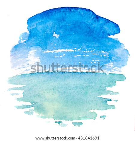 watercolor illustration of a sea landscape. Hand paintings