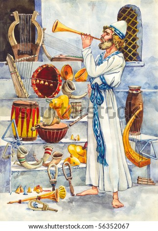 "Watercolor illustration of a series ""Life and everyday objects of ancient Palestine"". Leviticus - stock photo"